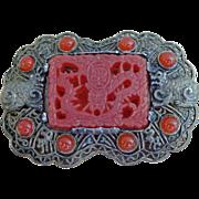 SALE Vintage Asian Signed  Brooch Ornate