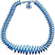 Monet- Sleek Moderne Silver Tone Vintage Necklace