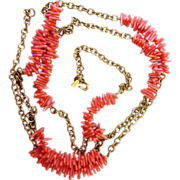Kenneth Lane- Coral Vintage 60 Inch Vintage Sautoir Necklace