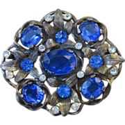 Early Vintage Brooch With Open Backed Blue Glass Brooch