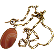 35 inch Vintage Gold Filed Unique Chain with 3 Inch Agate Vintage Pendant