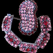 Signed Czech Large Vintage Brooch and Bracelet