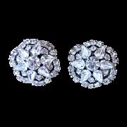 Hattie Carnegie Signed Large Button Rhinestone Earrings