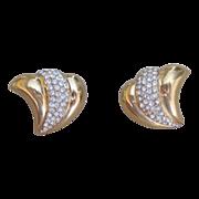 Ciner Signed Vintage Elegant Rhinestone and Gold Toned Earrings