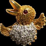 K.J.L. Kenneth Jay Lane 1960's Scatter Bird  Rhinestone Signed Pin