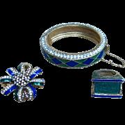 Ciner Signed Harlequin Rare Bracelet, Ring, and Brooch Demi Parure