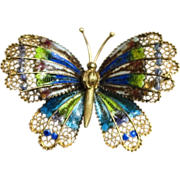 800 Silver Fabulous Enamel and Detailed Signed Butterfly Brooch