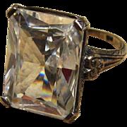 SALE PENDING Large Sterling Ornate Crystal Vintage Ring