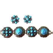 Huge Faux Turquoise Color Chunky Vintage Runway Bracelet and Earrings