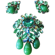 Regency Outstanding Large  Signed Vintage Brooch and Earrings Set