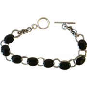 Mexico Sterling and Onyx Vintage Bracelet
