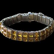 Double Line Vintage Bracelet Bezel Set With Amber Color Stones