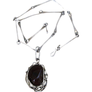 Amazing Sterling Silver Unique Rare Chain and Large Agate and Sterling Huge Vintage Pendant