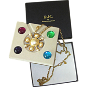 K.J.L. by Kenneth Jay Lane Roman Style Interchangeable Vintage Necklace