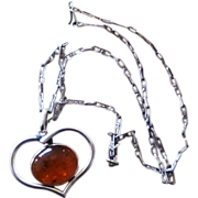 Sterling Silver and Amber Modernist Vintage Pendant Necklace on Amazing Chain