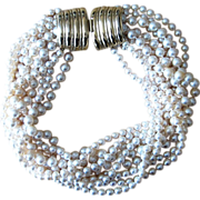 Donald Stannard Haute Couture Faux Pearl Signed Vintage Torsade Necklace