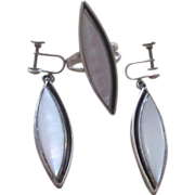 Sterling Silver Mother of Pearl Bold Vintage Ring and Earrings Set