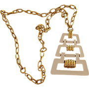 Trifari Signed Modernist Retro Vintage Signed Pendant Necklace