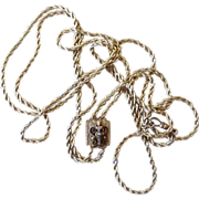 Victorian Long Watch Chain with Large Unique Slide