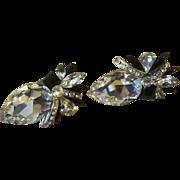 Huge Rhinestone Bling Vintage Rhinestone Earrings