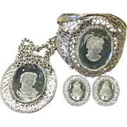 Whiting and Davis Rare Intaglio Cameo Cuff Bracelet, Necklace and Earrings Signed Vintage ...