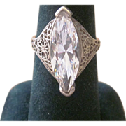 Stunning Sterling Silver and Crystal Vintage Signed Ring