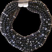 Jay Feinberg  Couture Black Signed Vintage Torsade  Necklace