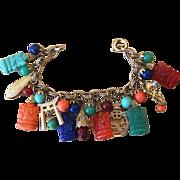 Napier Rare Signed Asian Theme With Buddhas Vintage Charm Bracelet