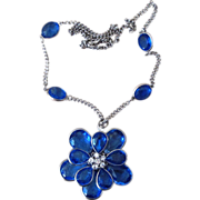 Large and Substantial Blue Crystal Glass Flower Pendant on Station Vintage Necklace
