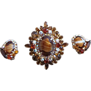 Juliana Tiger Eye Rhinestone Vintage  Earrings and Layered Brooch or Pendant