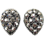 "Weiss Vintage Signed Teardrop ""black diamonds"" Rhinestone Earrings"