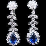 Amazing Vintage Long Drop Rhinestone Earrings