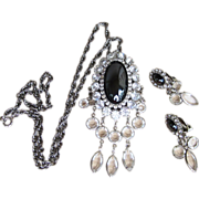 Hobe Large Hematite Signed Vintage Brooch or Pendant and Matching Earrings Vintage Set