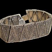 64 Grams Judith Jack Sterling and Marcasite Stunning and Impressive Vintage Bracelet