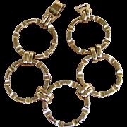 Napier Gold Tone Large Circle Signed Vintage Bracelet