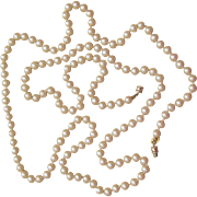 Les Bernard Hand Knotted 52 Inch Faux Pearl Signed Designer Sautoir Necklace