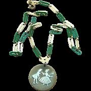 Early Plastics, Unique Celluloid Vintage Chain Link Pendant Necklace