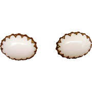 Miriam Haskell  Large White Glass Signed Vintage Earrings