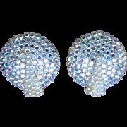 Richard Kerr Signed Rhinestone Large Button Earrings