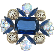 Juliana  Beautiful Blue Vintage Rhinestone Brooch