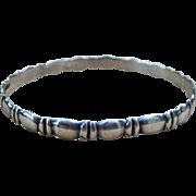 Sterling Silver Taxco and Signed Vintage Bangle Bracelet  Larger Wrist