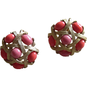 Trifari Signed Faux Coral Vintage Earrings