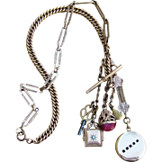 Extraordinary Victorian 71 Grams Gold Filled Fob, Locket Charm Antique Assembled Necklace