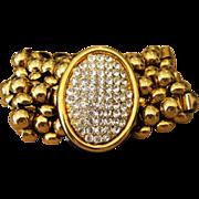 Chunky Rhinestone Designer Vintage Signed Bracelet