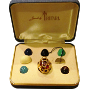 SOLD Trifari Complete Interchangeable Brutalist Ring in Original Box and Condition with Tag