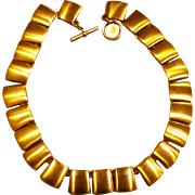 Anne Klein Brushed Gold Tone 1980's Modernist Vintage Necklace