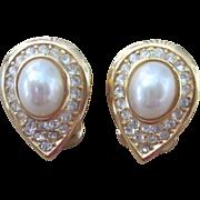 Christian Dior Vintage Teardrop Faux Pearl and Rhinestone Elegant Earrings
