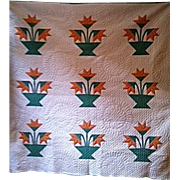 SALE Carolina Lily quilt c. 1910 – magnificent hand quilting 10 spi