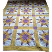 REDUCED MINT vintage bright, bold purple lavender gold vintage star quilt- amazing hand ...