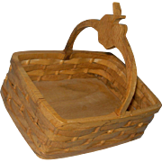 """Wooden Basket for 20-30"""" doll accessory Perfect for Red Riding Hood"""